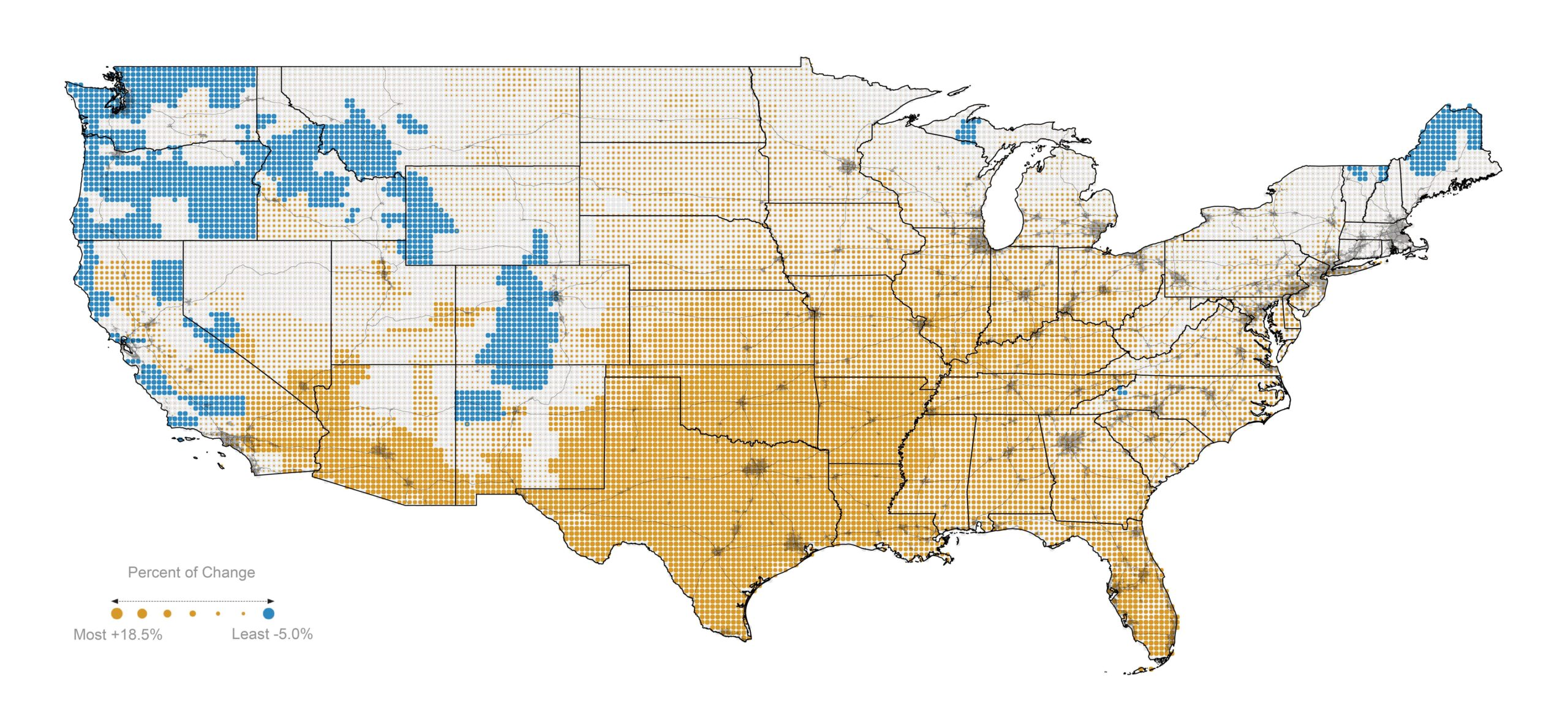 Map of predicted energy demand changes in the US lower 48