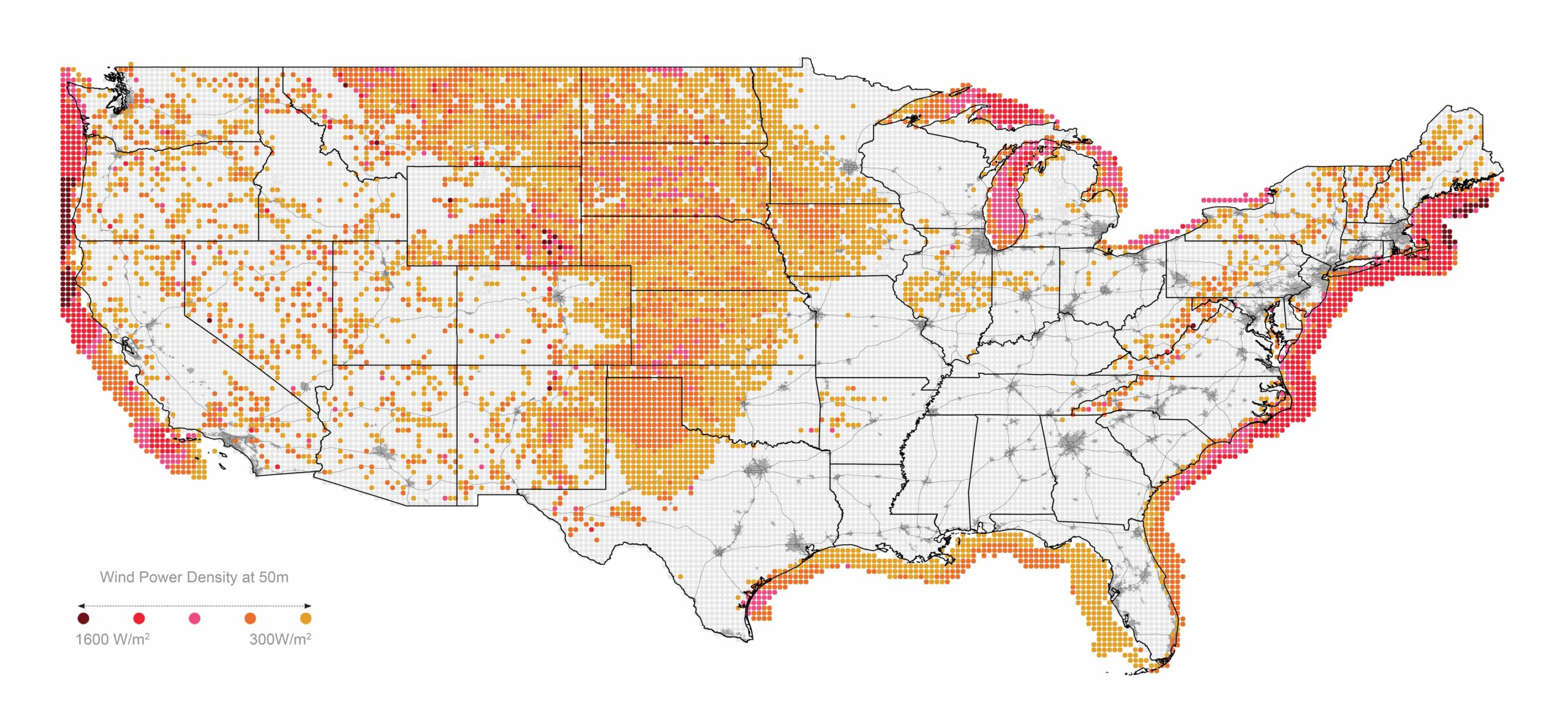 Map of wind power potential in the US lower 48