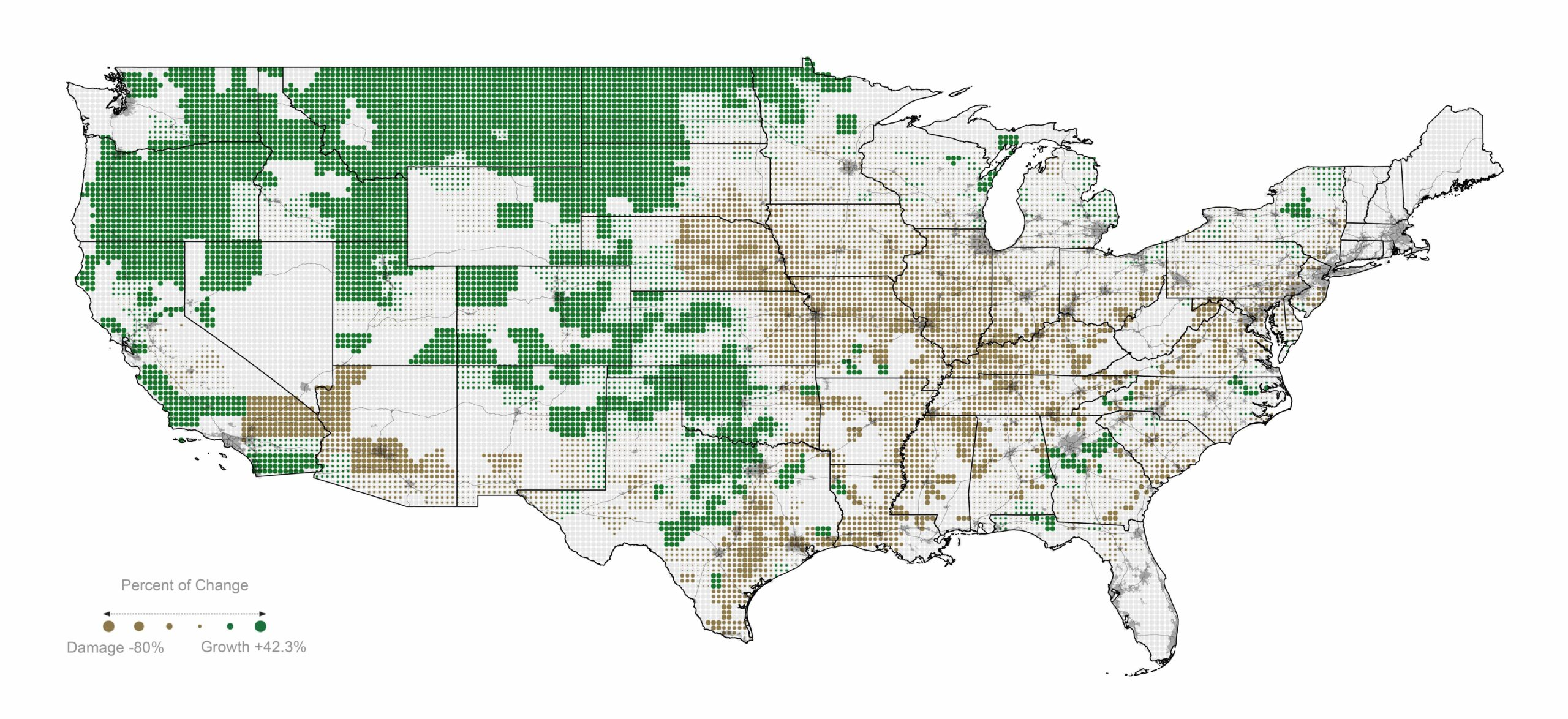 Map of agricultural productivity damage in the US lower 48