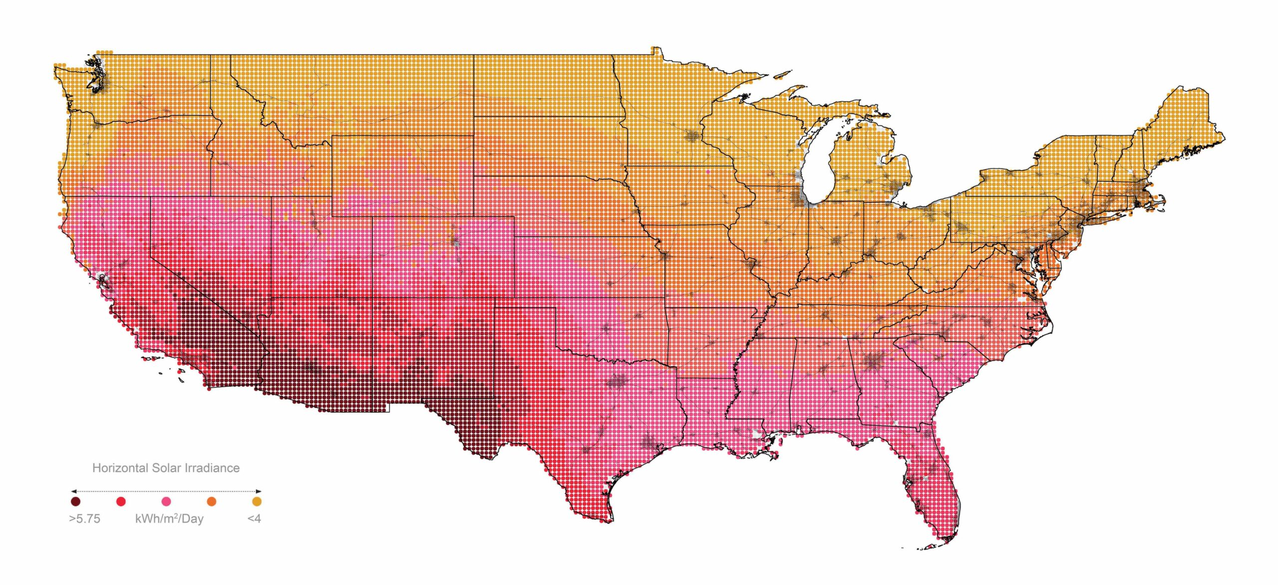 Map of solar power potential in the US lower 48
