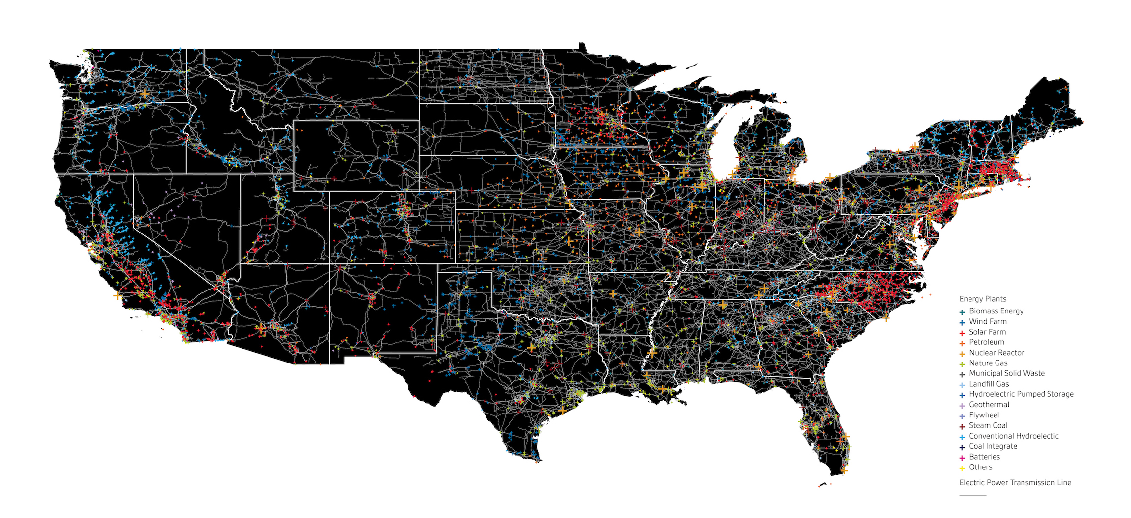 Map of energy infrastructure in the US lower 48