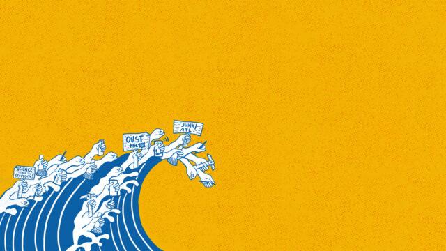 AGHAM protest wave illustration